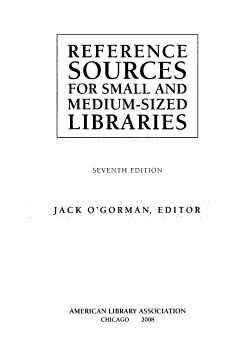 Reference Sources for Small and Medium sized Libraries PDF
