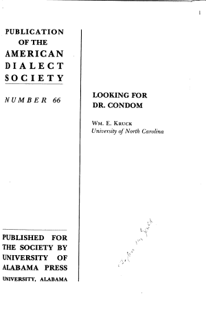 Publication of the American Dialect Society