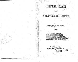 Better Days  Or  A Millionaire of To morrow PDF
