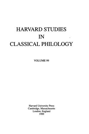 Harvard Studies in Classical Philology PDF