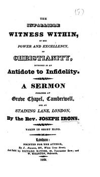 The Infallible Witness Within     A Sermon Preached at Grove Chapel  Camberwell  Etc PDF