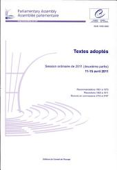 Parliamentary Assembly Adopted Texts: 2011 Ordinary Session (Second Part) 11-15 April 2011
