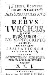 Jo. Henr. Boecleri Commentarius historico-politicus de rebus Turcicis