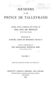 Memoirs of the Prince de Talleyrand: Volume 1