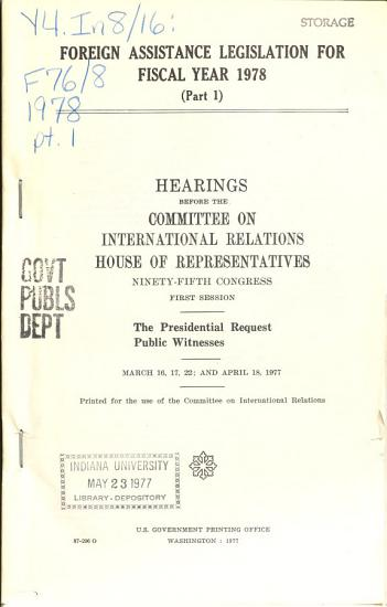 Foreign assistance legislation for fiscal year 1978 PDF