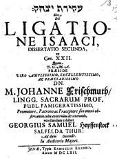 De ligatione Isaaci, dissertatio secunda