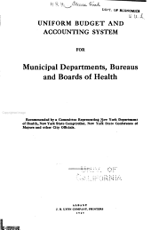 Uniform Budget and Accounting System for Municipal Departments, Bureaus and Boards of Health
