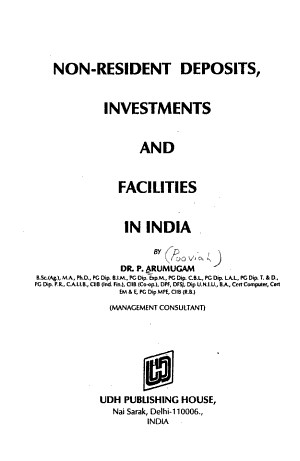 Non Resident Deposits Investments And Facilities In India