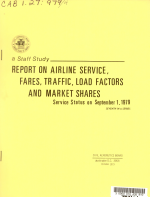 Report on Airline Service  Fares  Traffic  Load Factors  and Market Shares PDF