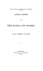 Natural History of the Tres Marias and Socorro