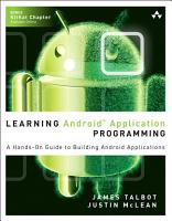 Learning Android Application Programming PDF