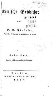 Roemische Geschichte /von B. G. Niebuhr: Band 1