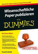 Wissenschaftliche Paper publizieren f  r Dummies PDF