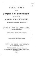 Strictures on the Judgement of the Court of Appeal in the case of Martin v  Mackonochie     Second edition  revised  with additions PDF