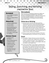 Writing Lesson Level K--Tell, Sketch, and Write Narrative Text