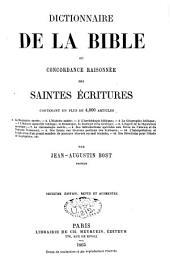 Dictionnaire de la Bible ou concordances raisonnées des Saintes Ecritures