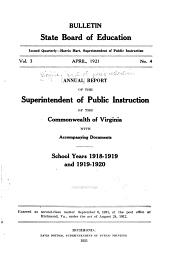 Annual Report of the Superintendent of Public Instruction of the Commonwealth of Virginia: With Accompanying Documents