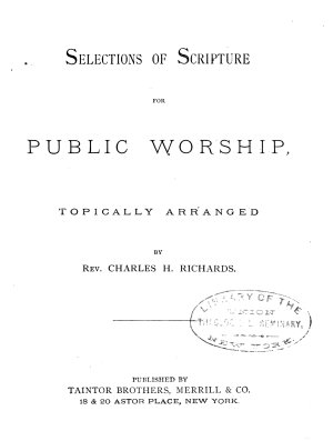 Selections of Scripture for Public Worship PDF