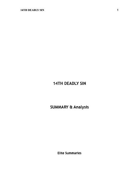 14th Deadly Sin: by James Patterson | Summary & Analysis