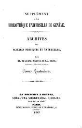 Archives des sciences physiques et naturelles: *supplement a la Biblioteque universelle de Geneve