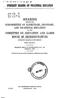 Oversight Hearing on Vocational Education PDF