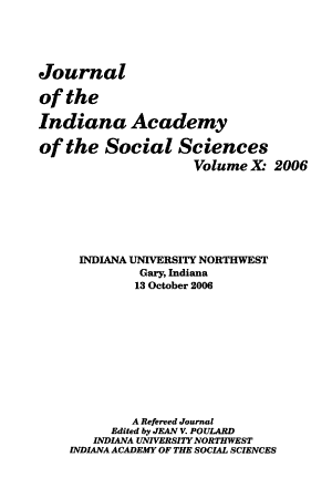 Journal of the Indiana Academy of the Social Sciences