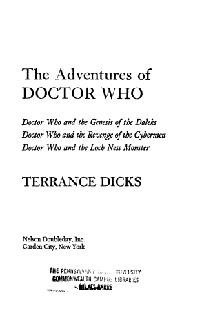 The Adventures of Doctor Who PDF