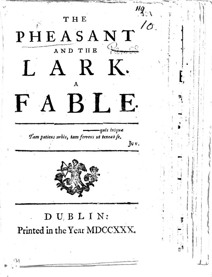 The Pheasant and the Lark. A Fable