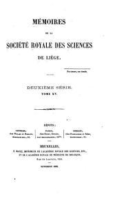 Mémoires de la Société royale des sciences de Liège: Volume15