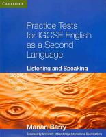 Practice Tests for IGCSE English as a Second Language  Listening and Speaking PDF