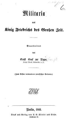 Militaria aus K  nig Friedrichs des Grossen Zeit  etc PDF