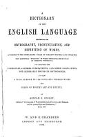 Dictionary of the English Language Exhibiting Orthography  Pronunciation and Definition of Words PDF
