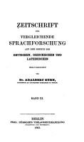 Zeitschrift f  r vergleichende Sprachforschung auf dem Gebiete des deutschen  griechischen und lateinischen PDF