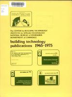 Building Technology Publications  1965 1975 PDF