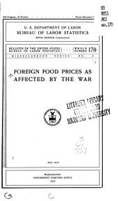 Foreign Food Prices as Affected by the War