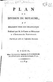 Plan de division du royaume et règlement pour son organisation