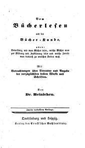 Vom Bücherlesen und der Bücherkunde