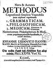 Nova et accurata methodus cognoscendi simplicia vegetabilia juxta triplicem cognitionem ;1 Grammaticam ;2 philosophicam ; 3 medicam... autore Johanne Ludovico Hannemann,...