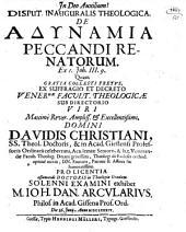 Disp. inaug. theol. de adynamia peccandi renatorum, ex I Jo. III,9