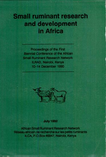 Small Ruminant Research and Development in Africa PDF