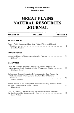 Great Plains Natural Resources Journal PDF