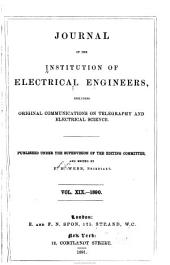Proceedings of the Institution of Electrical Engineers: Volume 19