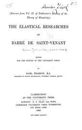 The Elastical Researches of Barré de Saint-Venant