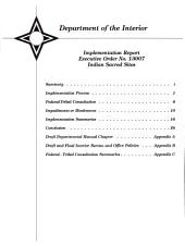 Implementation report: Executive Order no. 13007, Indian sacred sites, Issue 13007