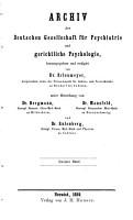 Archiv der deutschen gesellschaft fuer psychiatrie und gerichtliche psychologie PDF