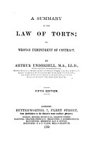 A Summary of the Law of Torts  Or  Wrongs Independent of Contract PDF