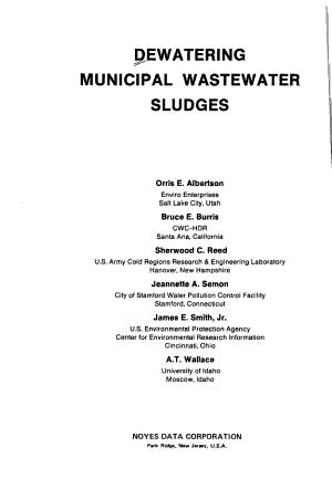 Dewatering Municipal Wastewater Sludge