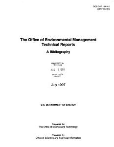 The Office of Environmental Management Technical Reports