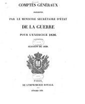 Comptes généraux présentés par le ministre de la guerre
