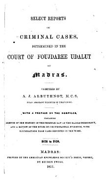 Select Reports of Criminal Cases  Determined in the Court of Foujdaree Udalut of Madras PDF